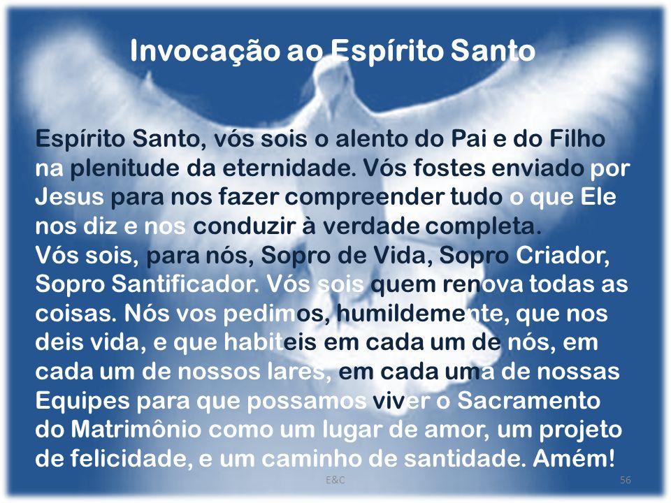 Invocação ao Espírito Santo Espírito Santo, vós sois o alento do Pai e do Filho na plenitude da eternidade.