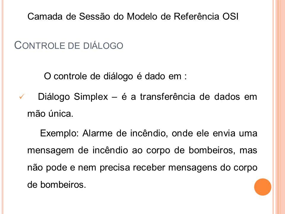 O controle de diálogo é dado em : Diálogo Simplex – é a transferência de dados em mão única. Exemplo: Alarme de incêndio, onde ele envia uma mensagem