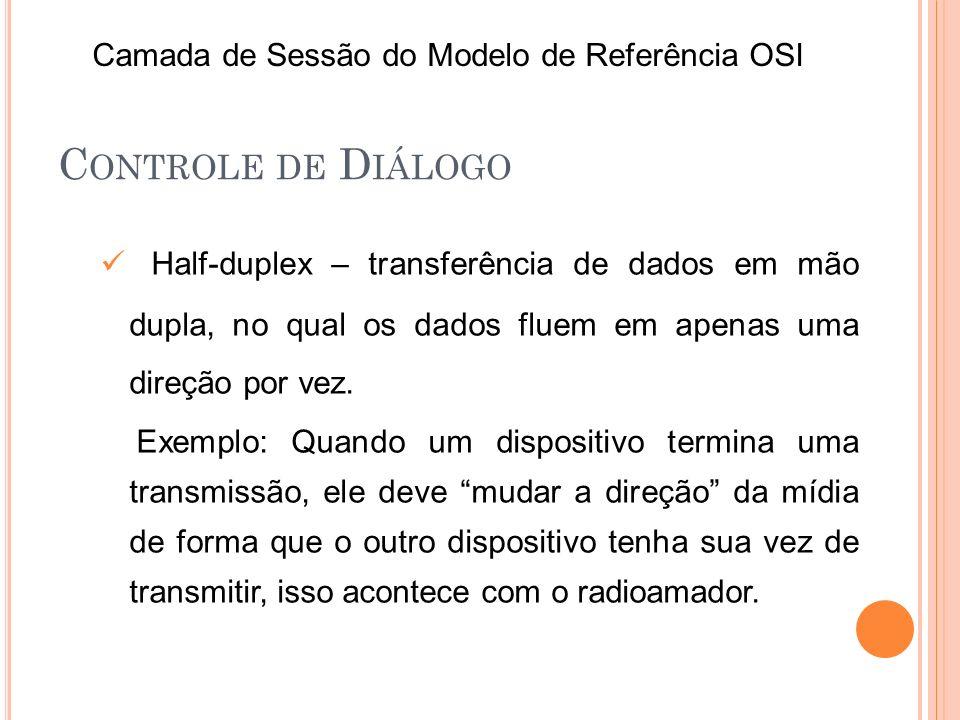 C ONTROLE DE D IÁLOGO Full-duplex – permite transferência de dados simultâneas em mão dupla, tendo cada dispositivo um canal de comunicação separado, um exemplo é o telefone.