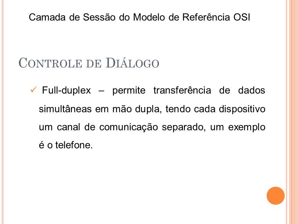 C ONTROLE DE D IÁLOGO Full-duplex – permite transferência de dados simultâneas em mão dupla, tendo cada dispositivo um canal de comunicação separado,
