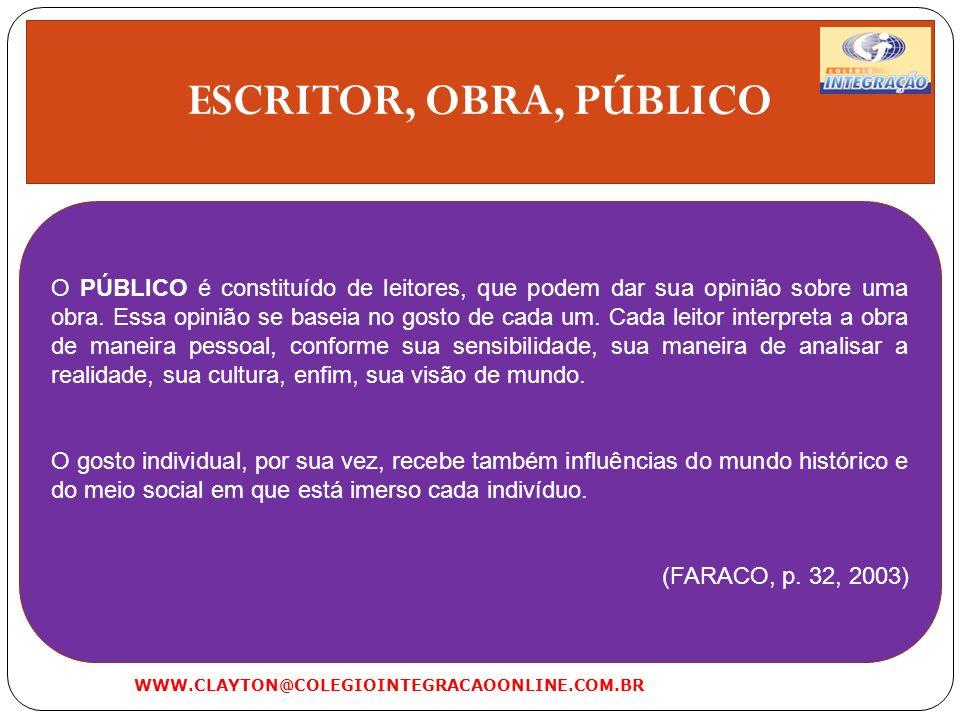 O SISTEMA LITERÁRIO WWW.CLAYTON@COLEGIOINTEGRACAOONLINE.COM.BR ESCRITOR OBRA PÚBLICO SISTEMA LITERÁRIO
