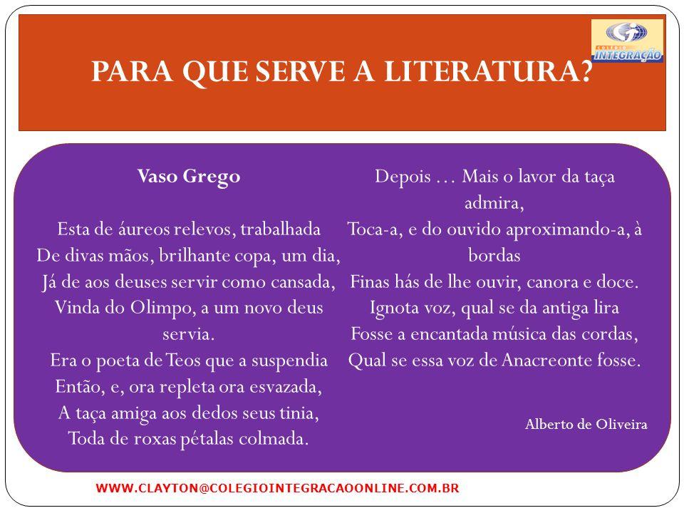 PARA QUE SERVE A LITERATURA.b)Literatura como evasão: evasão equivale a fuga, escape.