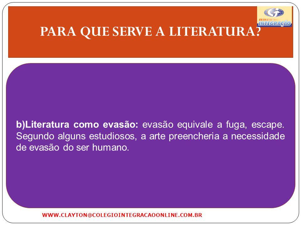 PARA QUE SERVE A LITERATURA? b)Literatura como evasão: evasão equivale a fuga, escape. Segundo alguns estudiosos, a arte preencheria a necessidade de