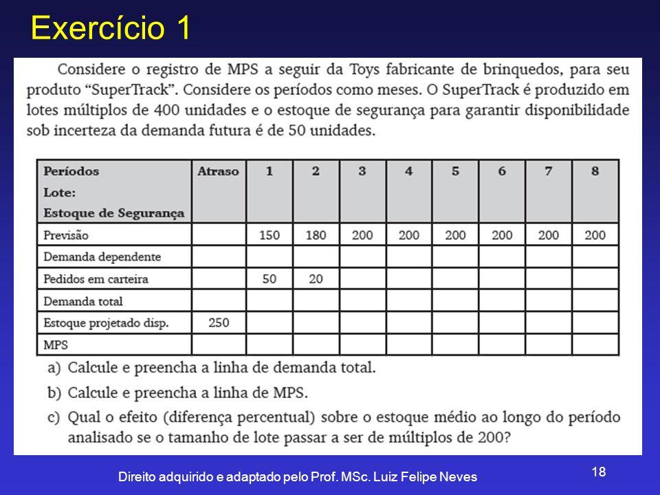 Direito adquirido e adaptado pelo Prof. MSc. Luiz Felipe Neves 18 Exercício 1
