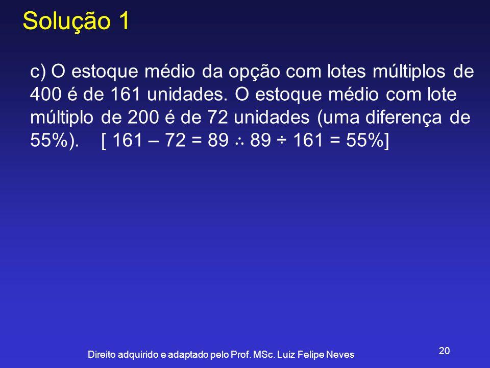Direito adquirido e adaptado pelo Prof. MSc. Luiz Felipe Neves 20 Solução 1