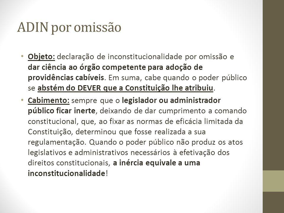 ADIN por omissão Objeto: declaração de inconstitucionalidade por omissão e dar ciência ao órgão competente para adoção de providências cabíveis. Em su