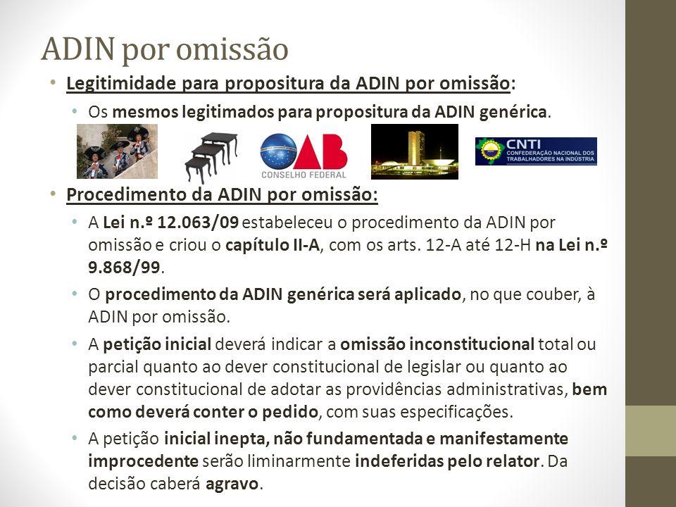 ADIN por omissão Legitimidade para propositura da ADIN por omissão: Os mesmos legitimados para propositura da ADIN genérica. Procedimento da ADIN por