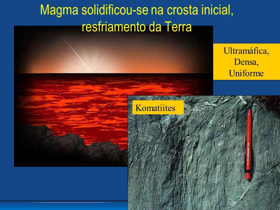 Komatiites Ultramáfica, Densa, Uniforme Magma solidificou-se na crosta inicial, resfriamento da Terra