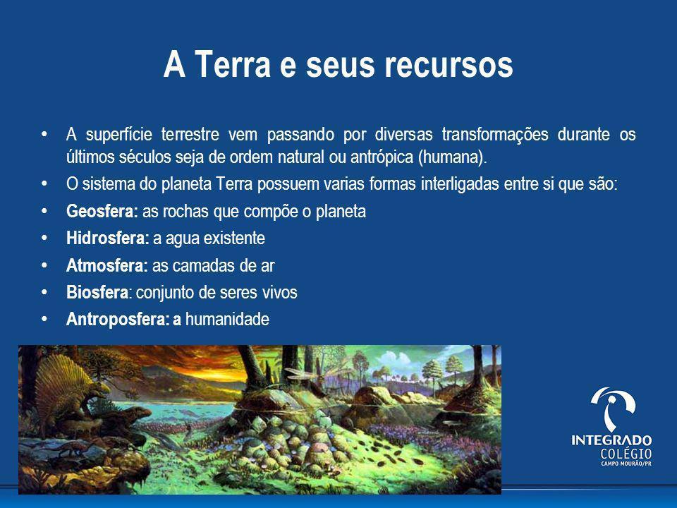 A Terra e seus recursos A superfície terrestre vem passando por diversas transformações durante os últimos séculos seja de ordem natural ou antrópica