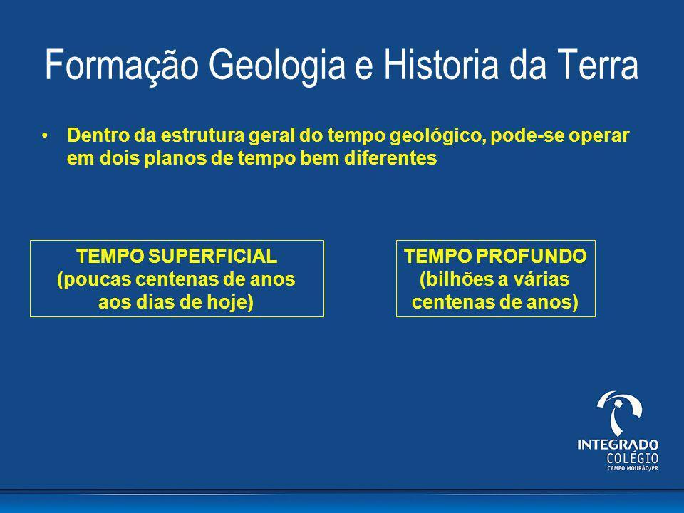 Formação Geologia e Historia da Terra Dentro da estrutura geral do tempo geológico, pode-se operar em dois planos de tempo bem diferentes TEMPO SUPERF