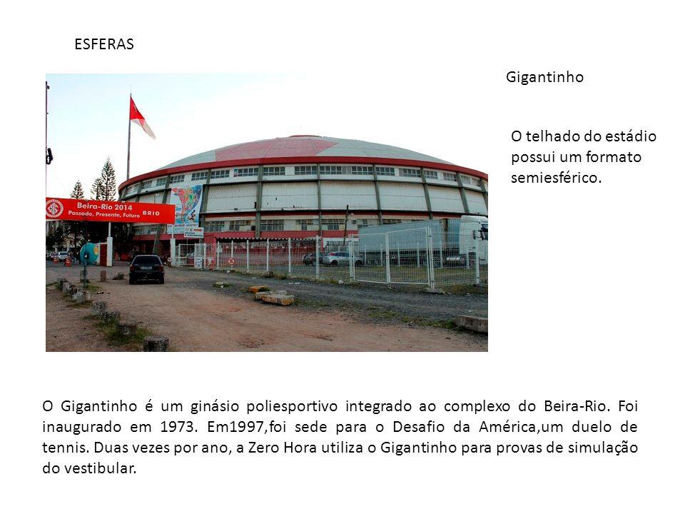 ESFERAS Gigantinho O telhado do estádio possui um formato semiesférico. O Gigantinho é um ginásio poliesportivo integrado ao complexo do Beira-Rio. Fo