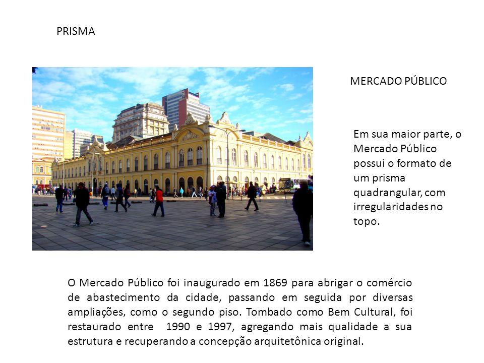 PRISMA MERCADO PÚBLICO Em sua maior parte, o Mercado Público possui o formato de um prisma quadrangular, com irregularidades no topo. O Mercado Públic