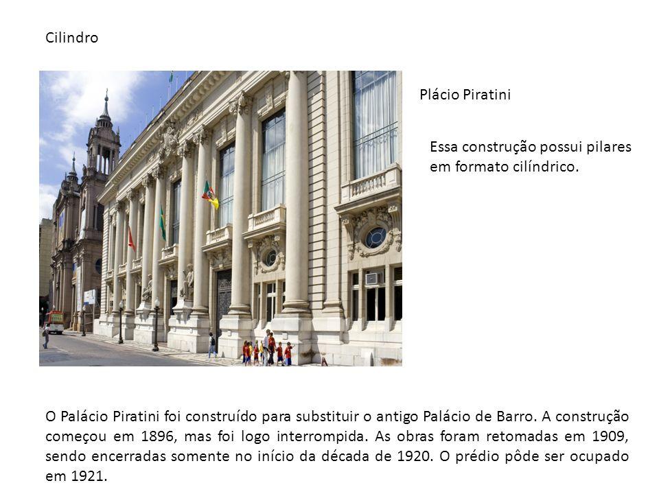 Plácio Piratini Essa construção possui pilares em formato cilíndrico. O Palácio Piratini foi construído para substituir o antigo Palácio de Barro. A c