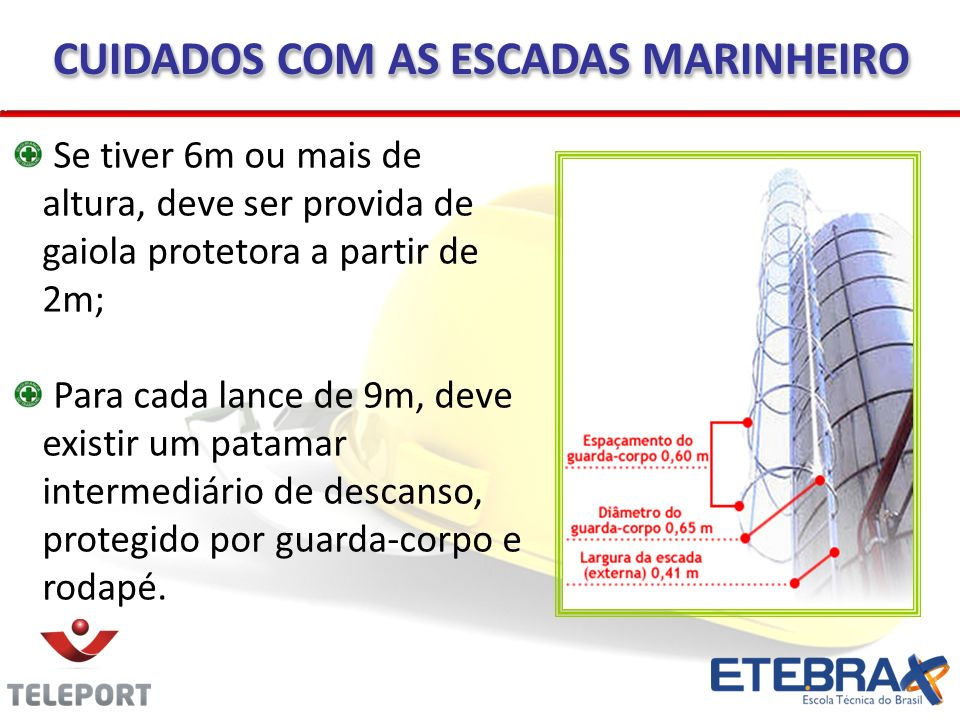 Se tiver 6m ou mais de altura, deve ser provida de gaiola protetora a partir de 2m; Para cada lance de 9m, deve existir um patamar intermediário de de