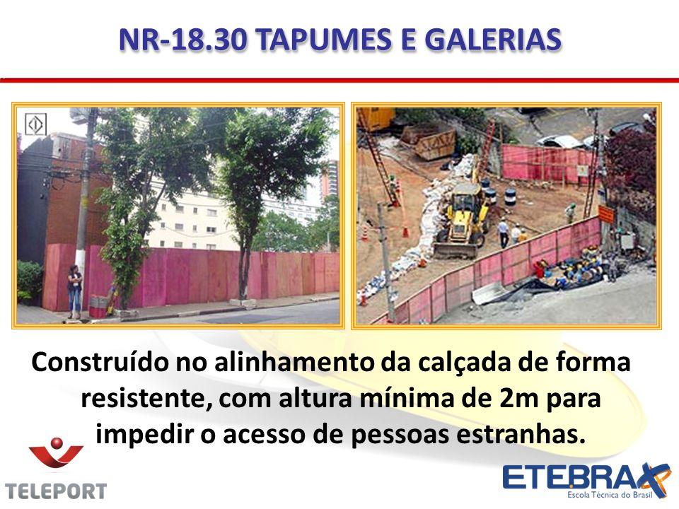 NR-18.30 TAPUMES E GALERIAS Construído no alinhamento da calçada de forma resistente, com altura mínima de 2m para impedir o acesso de pessoas estranh