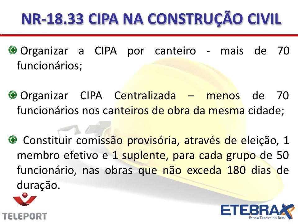 Organizar a CIPA por canteiro - mais de 70 funcionários; Organizar CIPA Centralizada – menos de 70 funcionários nos canteiros de obra da mesma cidade;