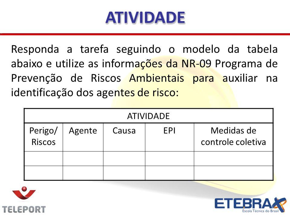 Responda a tarefa seguindo o modelo da tabela abaixo e utilize as informações da NR-09 Programa de Prevenção de Riscos Ambientais para auxiliar na ide