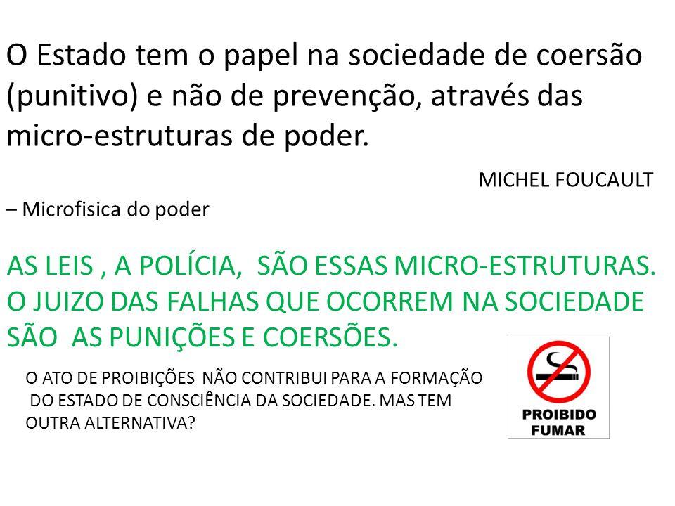 O Estado tem o papel na sociedade de coersão (punitivo) e não de prevenção, através das micro-estruturas de poder.