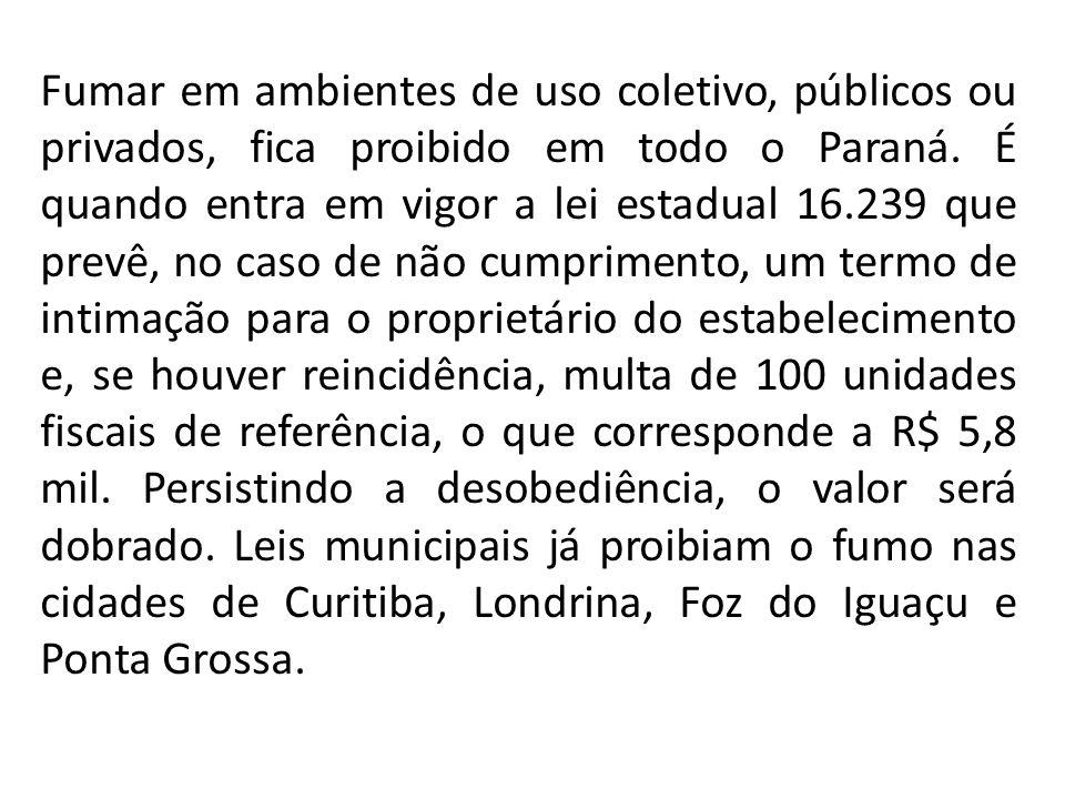 Fumar em ambientes de uso coletivo, públicos ou privados, fica proibido em todo o Paraná.