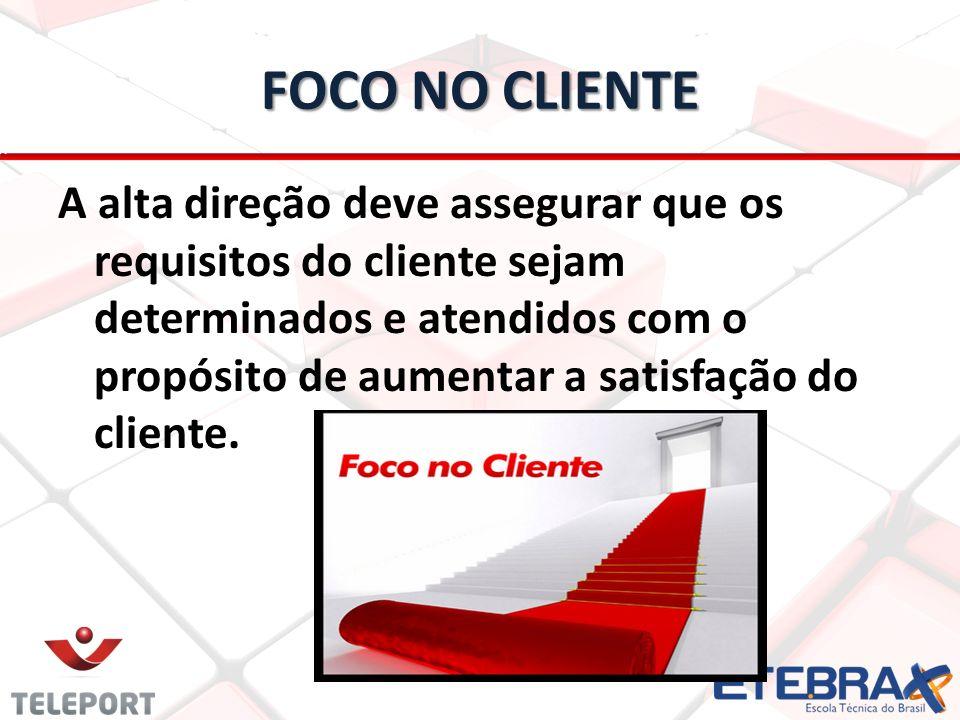 FOCO NO CLIENTE A alta direção deve assegurar que os requisitos do cliente sejam determinados e atendidos com o propósito de aumentar a satisfação do