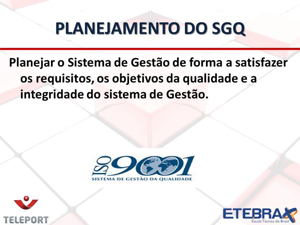 PLANEJAMENTO DO SGQ Planejar o Sistema de Gestão de forma a satisfazer os requisitos, os objetivos da qualidade e a integridade do sistema de Gestão.