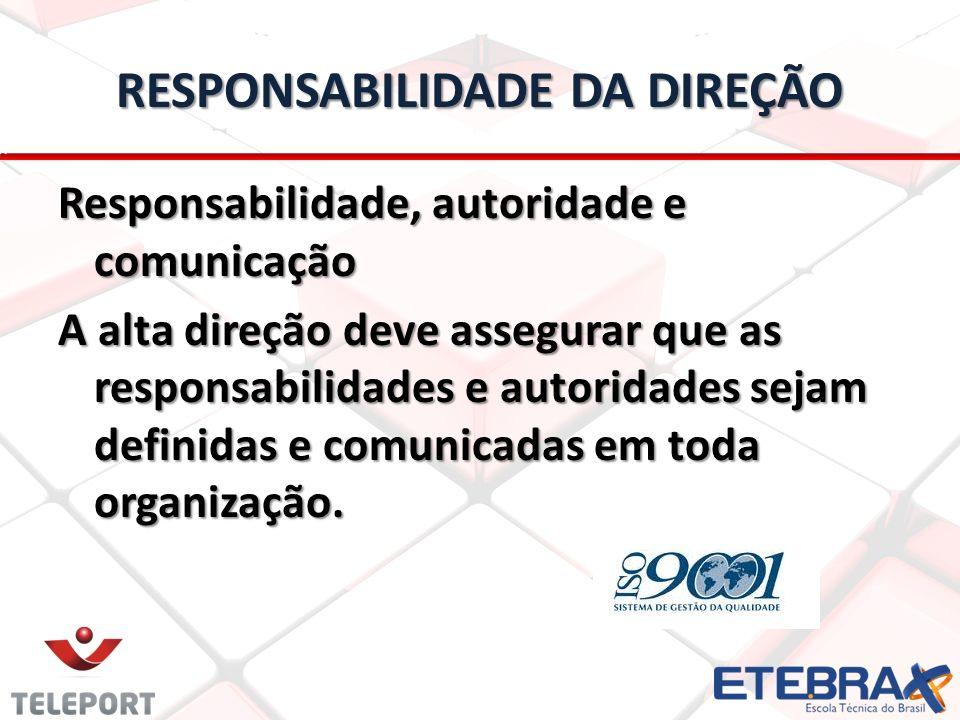 RESPONSABILIDADE DA DIREÇÃO Responsabilidade, autoridade e comunicação A alta direção deve assegurar que as responsabilidades e autoridades sejam defi