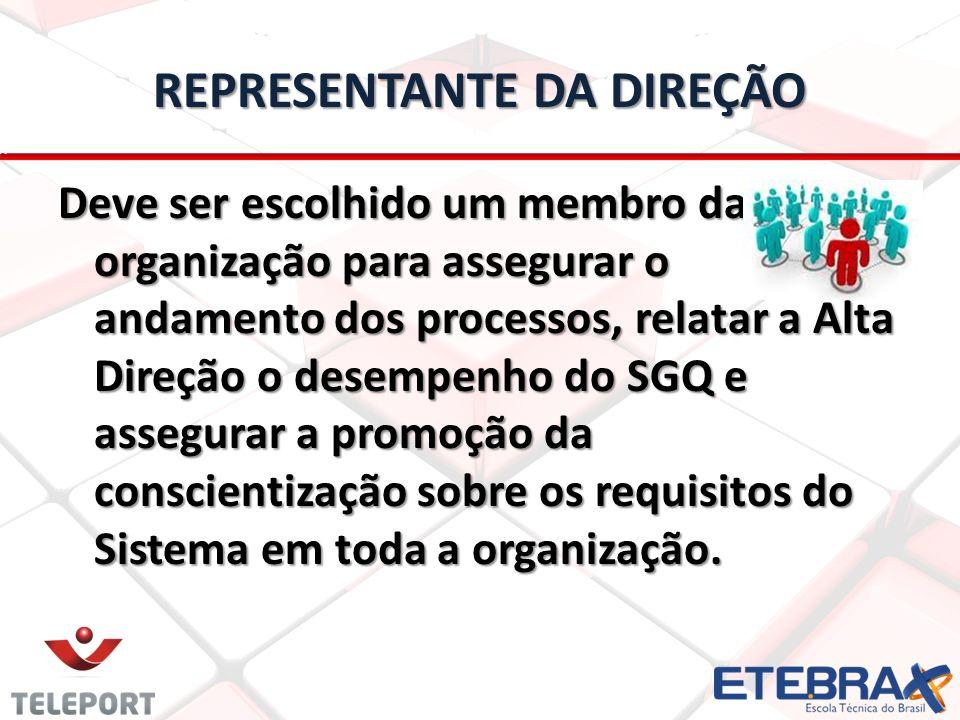 REPRESENTANTE DA DIREÇÃO Deve ser escolhido um membro da organização para assegurar o andamento dos processos, relatar a Alta Direção o desempenho do