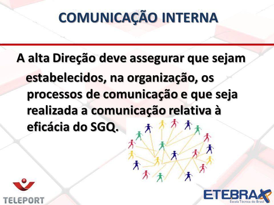 COMUNICAÇÃO INTERNA A alta Direção deve assegurar que sejam estabelecidos, na organização, os processos de comunicação e que seja realizada a comunica
