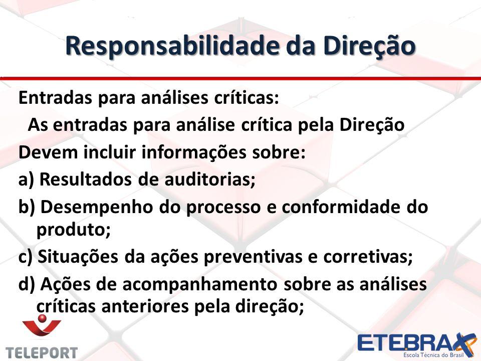 Responsabilidade da Direção Entradas para análises críticas: As entradas para análise crítica pela Direção Devem incluir informações sobre: a) Resulta