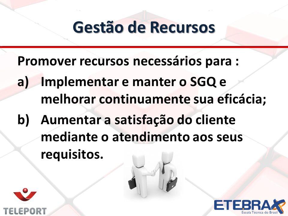 Gestão de Recursos Promover recursos necessários para : a) a)Implementar e manter o SGQ e melhorar continuamente sua eficácia; b) b)Aumentar a satisfa