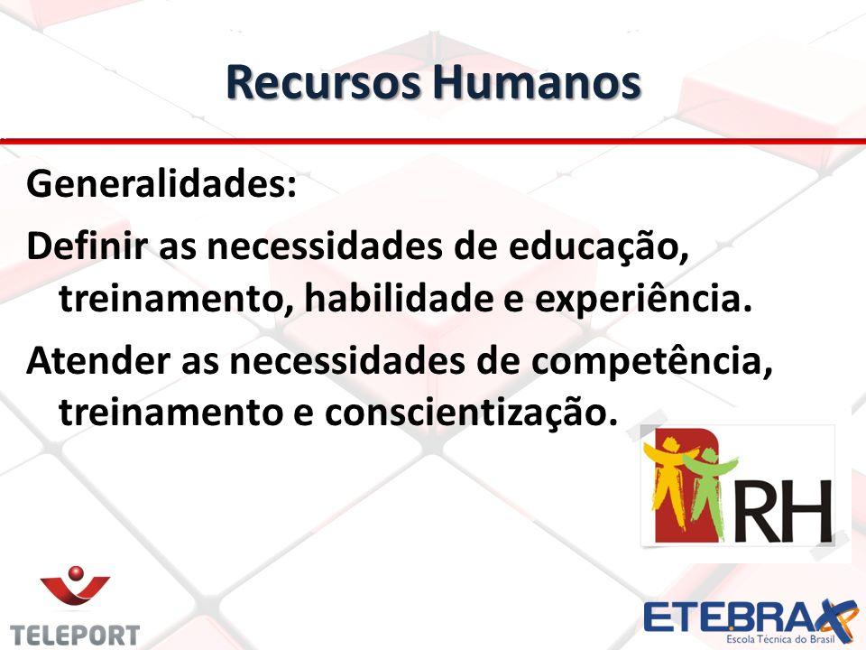 Recursos Humanos Generalidades: Definir as necessidades de educação, treinamento, habilidade e experiência. Atender as necessidades de competência, tr
