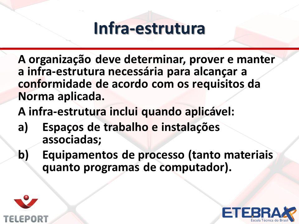 Infra-estrutura A organização deve determinar, prover e manter a infra-estrutura necessária para alcançar a conformidade de acordo com os requisitos d