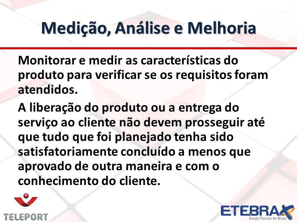 Medição, Análise e Melhoria Monitorar e medir as características do produto para verificar se os requisitos foram atendidos. A liberação do produto ou