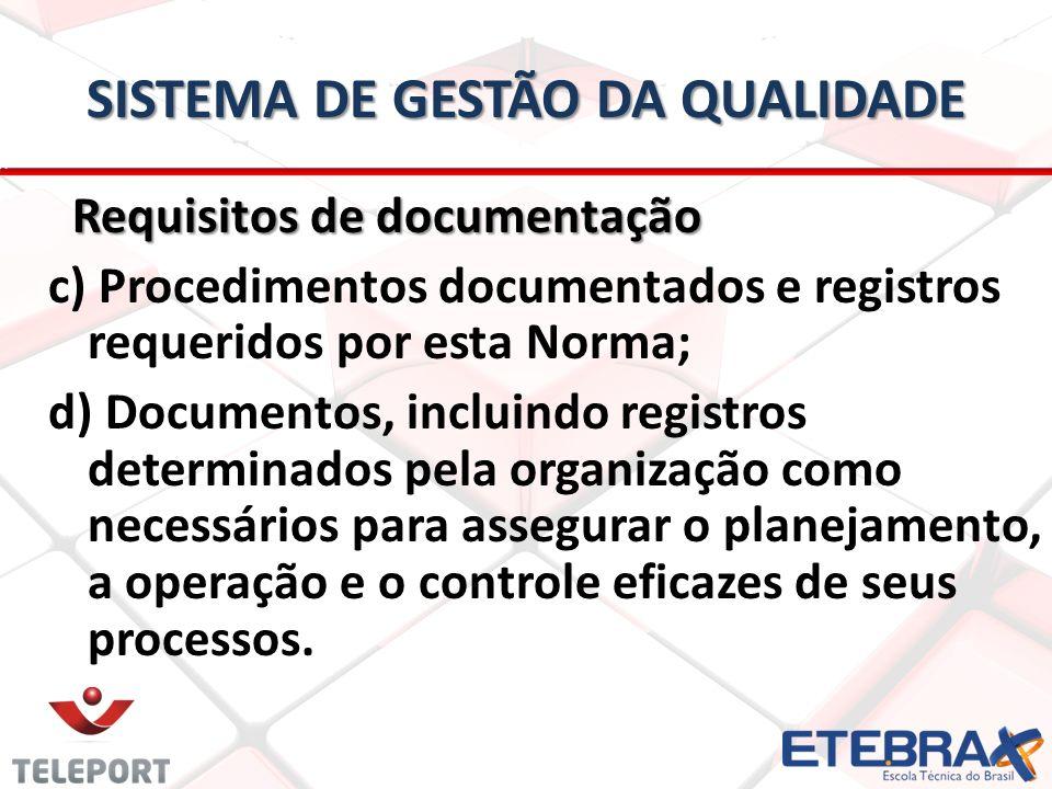 SISTEMA DE GESTÃO DA QUALIDADE Requisitos de documentação Requisitos de documentação c) Procedimentos documentados e registros requeridos por esta Nor