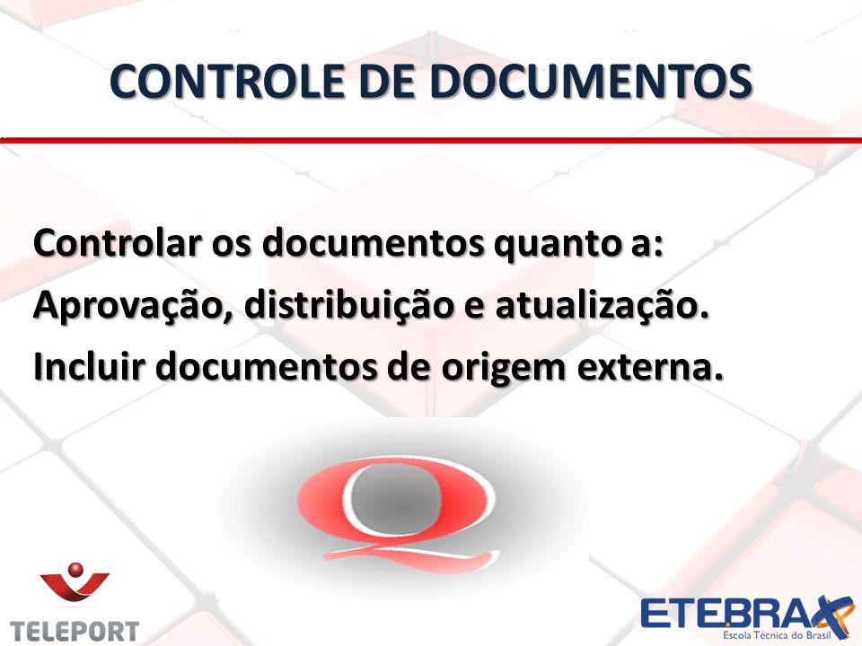 CONTROLE DE DOCUMENTOS Controlar os documentos quanto a: Aprovação, distribuição e atualização. Incluir documentos de origem externa.