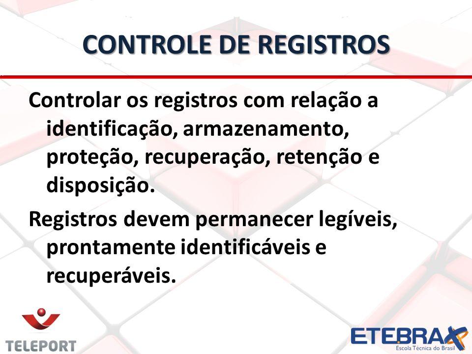 CONTROLE DE REGISTROS Controlar os registros com relação a identificação, armazenamento, proteção, recuperação, retenção e disposição. Registros devem