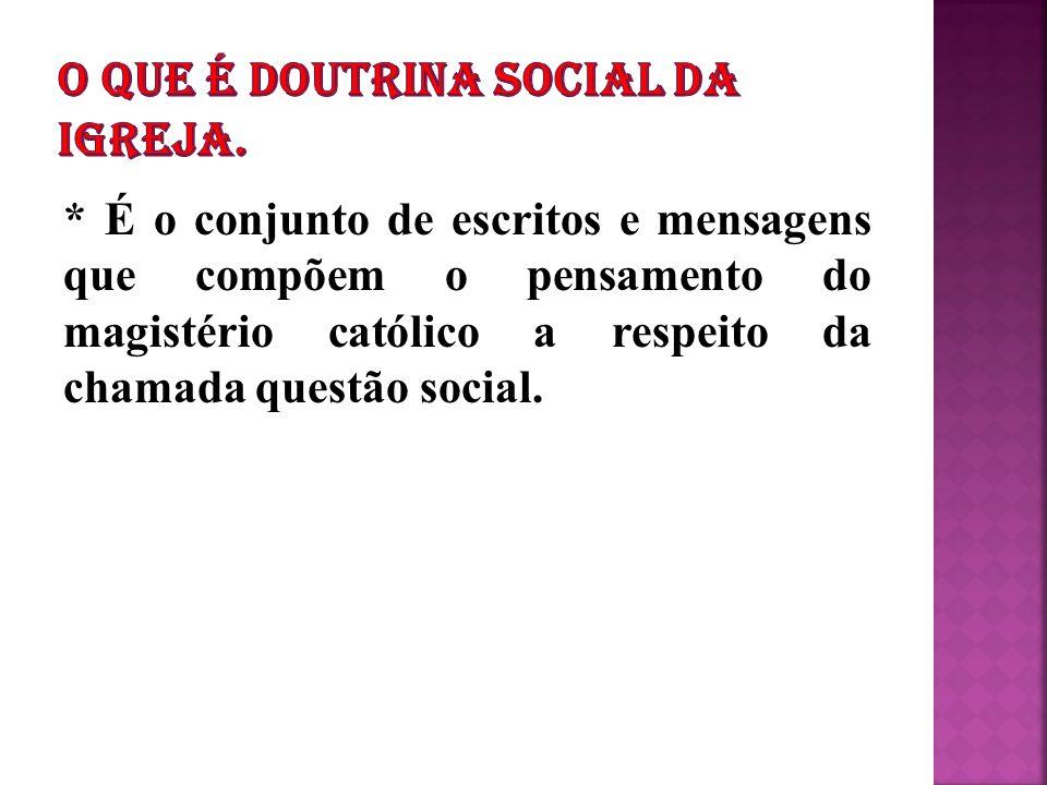* É o conjunto de escritos e mensagens que compõem o pensamento do magistério católico a respeito da chamada questão social.