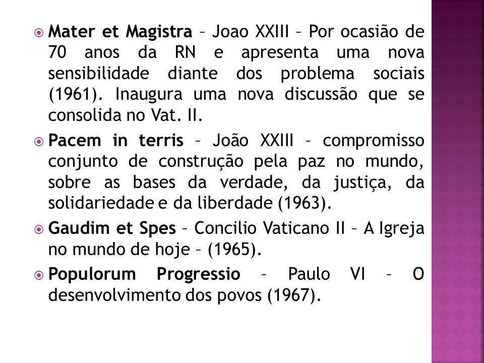 Mater et Magistra – Joao XXIII – Por ocasião de 70 anos da RN e apresenta uma nova sensibilidade diante dos problema sociais (1961). Inaugura uma nova