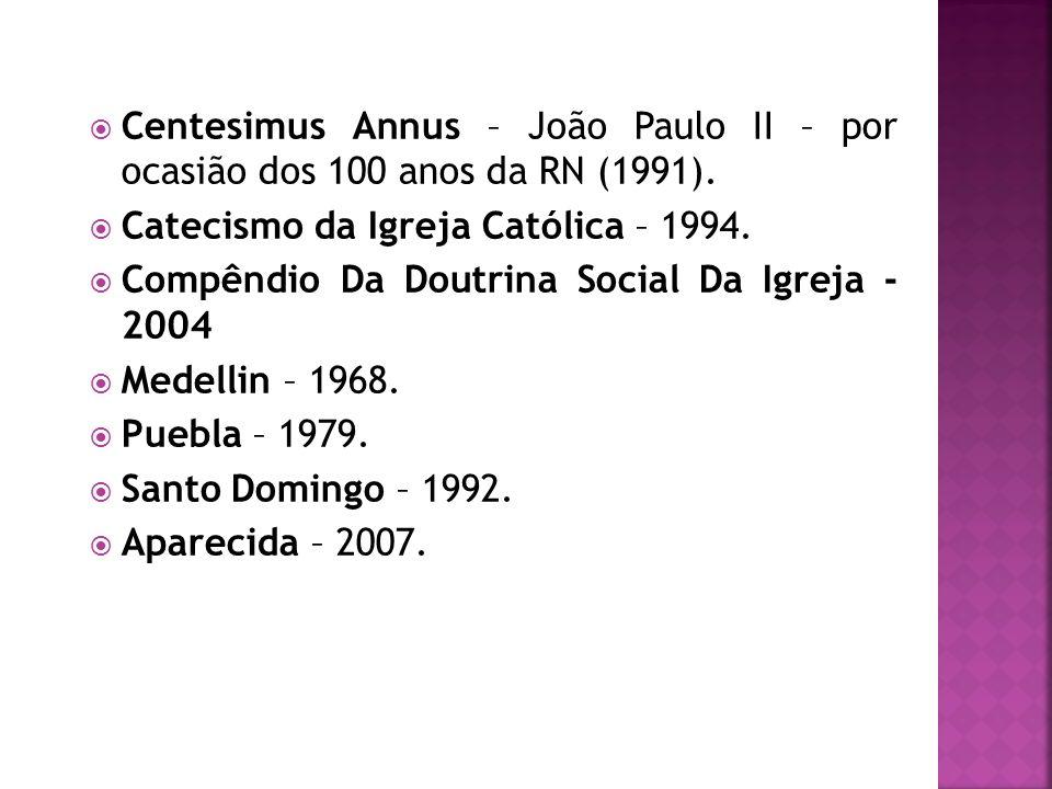 Centesimus Annus – João Paulo II – por ocasião dos 100 anos da RN (1991). Catecismo da Igreja Católica – 1994. Compêndio Da Doutrina Social Da Igreja