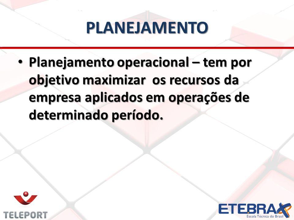 PLANEJAMENTO Planejamento operacional – tem por objetivo maximizar os recursos da empresa aplicados em operações de determinado período. Planejamento