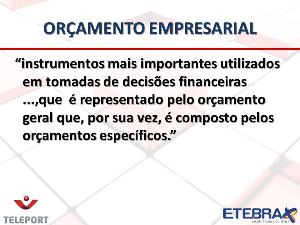 ORÇAMENTO EMPRESARIAL instrumentos mais importantes utilizados em tomadas de decisões financeiras...,que é representado pelo orçamento geral que, por