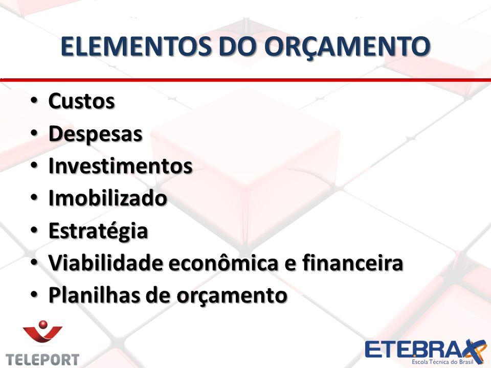 ELEMENTOS DO ORÇAMENTO Custos Custos Despesas Despesas Investimentos Investimentos Imobilizado Imobilizado Estratégia Estratégia Viabilidade econômica