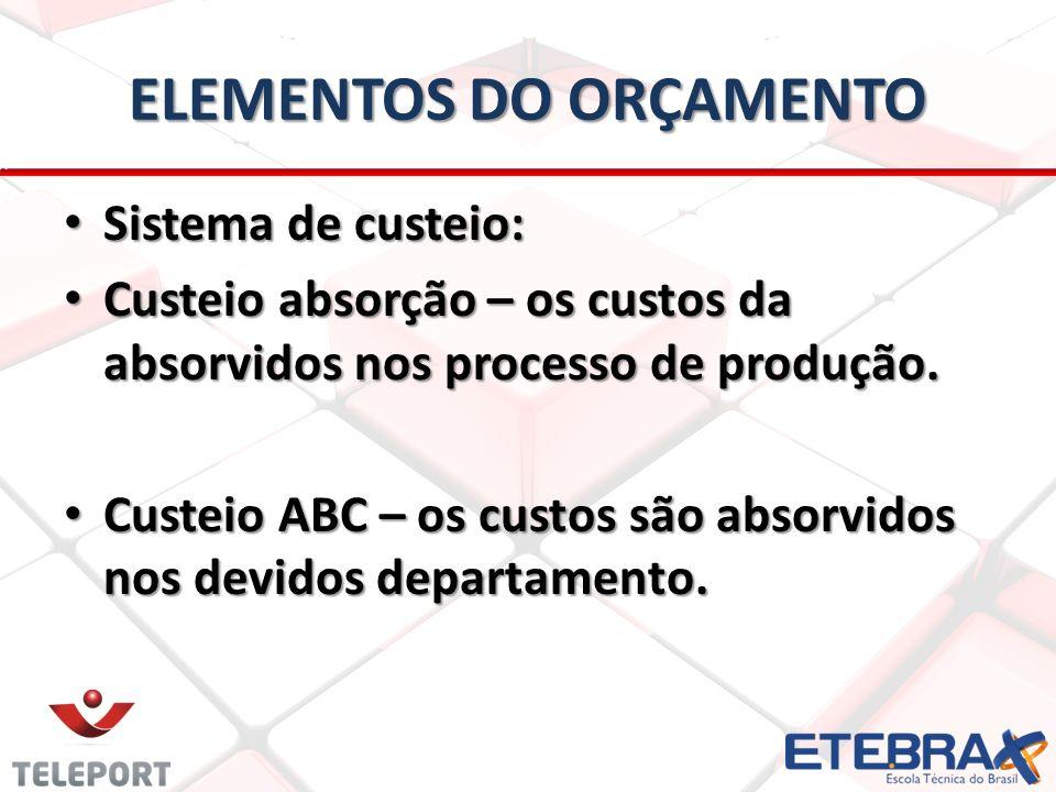 ELEMENTOS DO ORÇAMENTO Sistema de custeio: Sistema de custeio: Custeio absorção – os custos da absorvidos nos processo de produção. Custeio absorção –