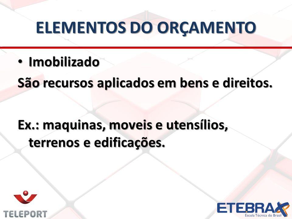 ELEMENTOS DO ORÇAMENTO Imobilizado Imobilizado São recursos aplicados em bens e direitos. Ex.: maquinas, moveis e utensílios, terrenos e edificações.