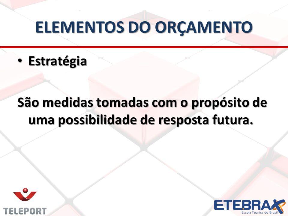 ELEMENTOS DO ORÇAMENTO Estratégia Estratégia São medidas tomadas com o propósito de uma possibilidade de resposta futura.