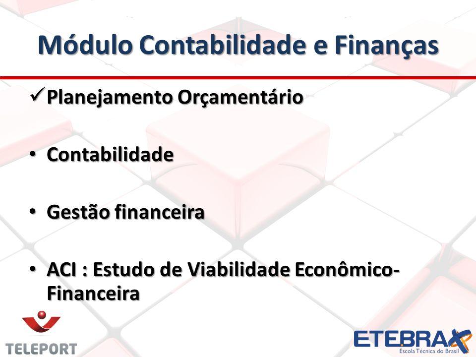 Módulo Contabilidade e Finanças Planejamento Orçamentário Planejamento Orçamentário Contabilidade Contabilidade Gestão financeira Gestão financeira AC