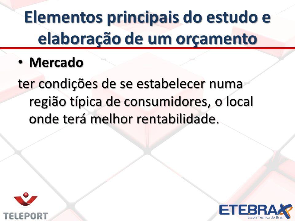 Elementos principais do estudo e elaboração de um orçamento Mercado Mercado ter condições de se estabelecer numa região típica de consumidores, o loca