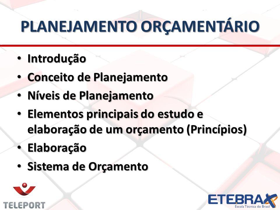 PLANEJAMENTO ORÇAMENTÁRIO Introdução Introdução Conceito de Planejamento Conceito de Planejamento Níveis de Planejamento Níveis de Planejamento Elemen