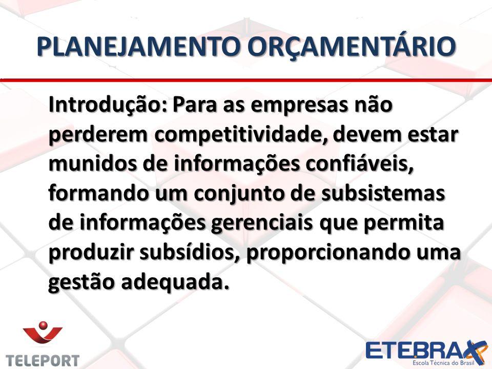 PLANEJAMENTO ORÇAMENTÁRIO Introdução: Para as empresas não perderem competitividade, devem estar munidos de informações confiáveis, formando um conjun