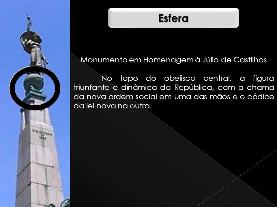 Monumento em Homenagem à Júlio de Castilhos No topo do obelisco central, a figura triunfante e dinâmica da República, com a chama da nova ordem social